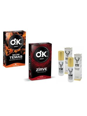 Okey Prezervatif Sıcak Temas + Zirve + 2 Adet Stag 9000 Geciktirici Sprey